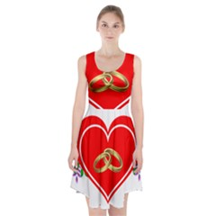 Heart Flowers Ring Racerback Midi Dress