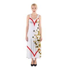 Heart Transparent Background Love Sleeveless Maxi Dress
