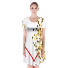 Heart Transparent Background Love Short Sleeve V-neck Flare Dress