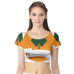 St Patricks Day Ireland Clover Short Sleeve Crop Top (tight Fit)
