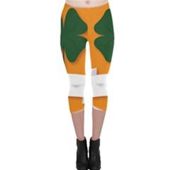 St Patricks Day Ireland Clover Capri Leggings