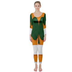 St Patricks Day Ireland Clover Long Sleeve Catsuit