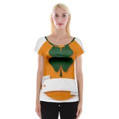 St Patricks Day Ireland Clover Women s Cap Sleeve Top