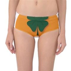 St Patricks Day Ireland Clover Mid Waist Bikini Bottoms