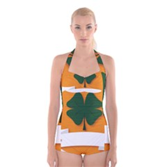 St Patricks Day Ireland Clover Boyleg Halter Swimsuit