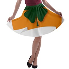 St Patricks Day Ireland Clover A Line Skater Skirt