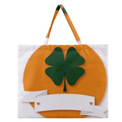St Patricks Day Ireland Clover Zipper Large Tote Bag