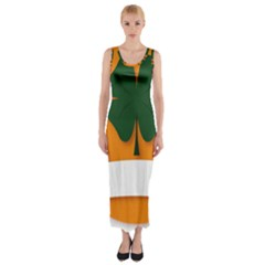 St Patricks Day Ireland Clover Fitted Maxi Dress