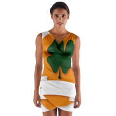 St Patricks Day Ireland Clover Wrap Front Bodycon Dress