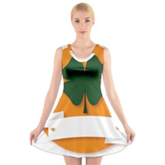 St Patricks Day Ireland Clover V Neck Sleeveless Skater Dress