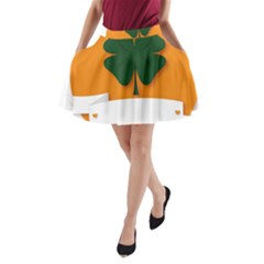 St Patricks Day Ireland Clover A Line Pocket Skirt