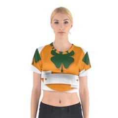 St Patricks Day Ireland Clover Cotton Crop Top