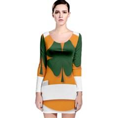 St Patricks Day Ireland Clover Long Sleeve Velvet Bodycon Dress