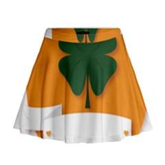 St Patricks Day Ireland Clover Mini Flare Skirt