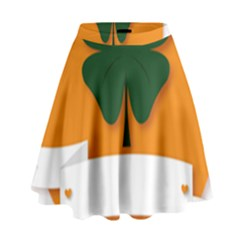St Patricks Day Ireland Clover High Waist Skirt