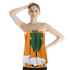 St Patricks Day Ireland Clover Strapless Top
