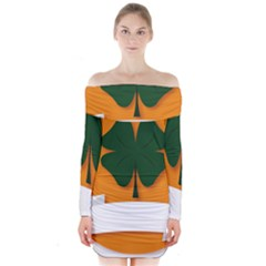 St Patricks Day Ireland Clover Long Sleeve Off Shoulder Dress