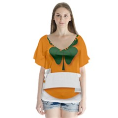 St Patricks Day Ireland Clover Flutter Sleeve Top