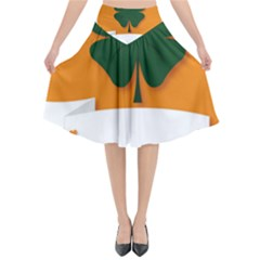 St Patricks Day Ireland Clover Flared Midi Skirt