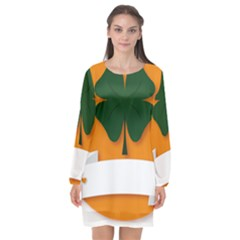 St Patricks Day Ireland Clover Long Sleeve Chiffon Shift Dress