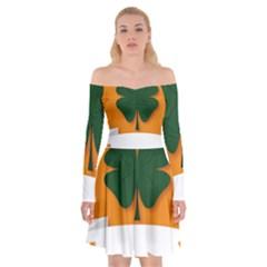 St Patricks Day Ireland Clover Off Shoulder Skater Dress