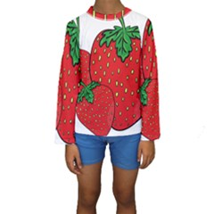 Strawberry Holidays Fragaria Vesca Kids  Long Sleeve Swimwear
