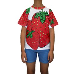 Strawberry Holidays Fragaria Vesca Kids  Short Sleeve Swimwear