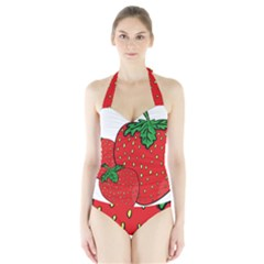 Strawberry Holidays Fragaria Vesca Halter Swimsuit
