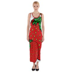Strawberry Holidays Fragaria Vesca Fitted Maxi Dress