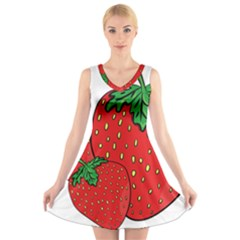 Strawberry Holidays Fragaria Vesca V Neck Sleeveless Skater Dress
