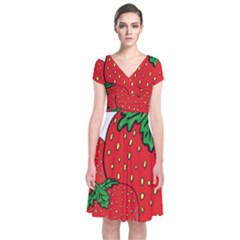 Strawberry Holidays Fragaria Vesca Short Sleeve Front Wrap Dress