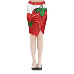 Strawberry Holidays Fragaria Vesca Midi Wrap Pencil Skirt
