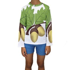 Acorn Hazelnuts Nature Forest Kids  Long Sleeve Swimwear