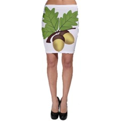 Acorn Hazelnuts Nature Forest Bodycon Skirt