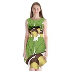 Acorn Hazelnuts Nature Forest Sleeveless Chiffon Dress