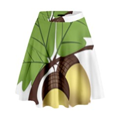 Acorn Hazelnuts Nature Forest High Waist Skirt