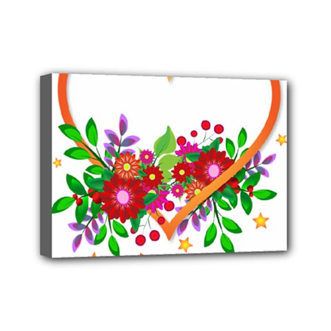 Heart Flowers Sign Mini Canvas 7  X 5