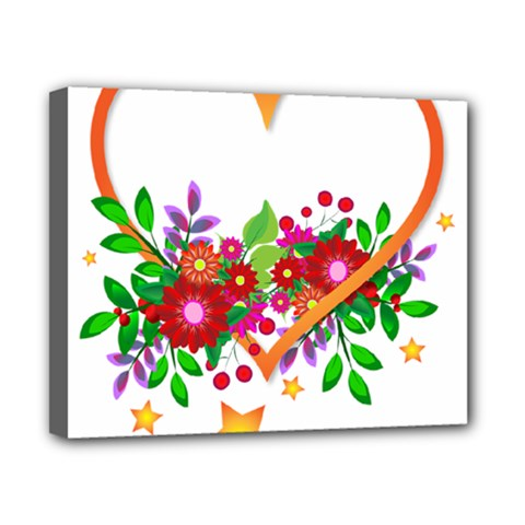 Heart Flowers Sign Canvas 10  x 8
