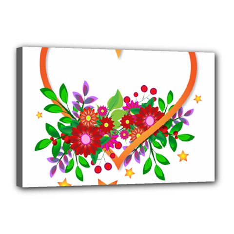 Heart Flowers Sign Canvas 18  X 12