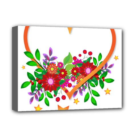Heart Flowers Sign Deluxe Canvas 16  x 12