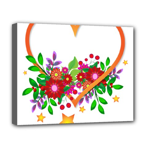 Heart Flowers Sign Deluxe Canvas 20  X 16