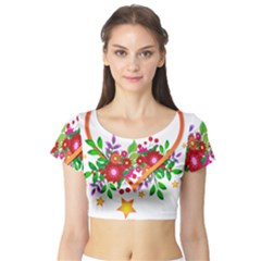 Heart Flowers Sign Short Sleeve Crop Top (tight Fit)
