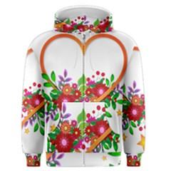 Heart Flowers Sign Men s Zipper Hoodie
