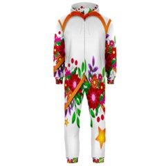 Heart Flowers Sign Hooded Jumpsuit (men)