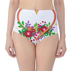 Heart Flowers Sign High-Waist Bikini Bottoms