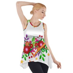 Heart Flowers Sign Side Drop Tank Tunic