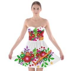 Heart Flowers Sign Strapless Bra Top Dress