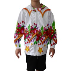 Heart Flowers Sign Hooded Wind Breaker (Kids)