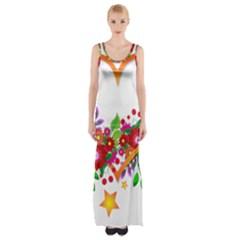 Heart Flowers Sign Maxi Thigh Split Dress