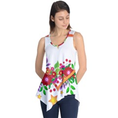 Heart Flowers Sign Sleeveless Tunic
